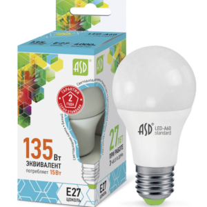 Лампа светодиодная ASD-А60-15Вт-3000K-Е27-1350Лм