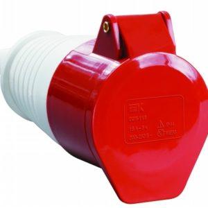 Розетка силовая 3Р+РЕ+N 32А 380В пластиковая IP44 TDM