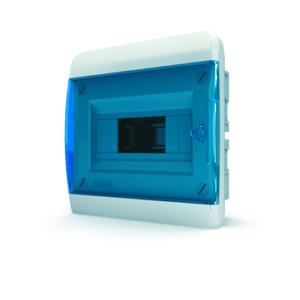 Щит пластиковый распределительный встраиваемый 8 мод IP41 синяя прозрачная дверца Tekfor