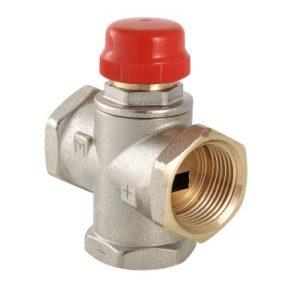 """Клапан термостатический 1"""" трехходовой смесительный (с боковым смешиванием для установки на байпасе) никелированный латунный корпус MR01 VALTEC"""