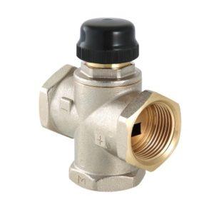 """Клапан термостатический 1"""" трехходовой смесительный (с центральным смешиванием, допускается полное перекрытие входных патрубков) никелированный латунный корпус MR02 VALTEC"""