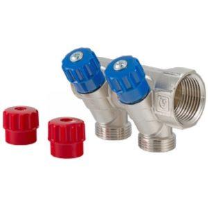 """Коллектор 1""""х2вых-3/4 под евроконус с регулирующими вентилями и комплектом ручек (красные/синие) VALTEC"""
