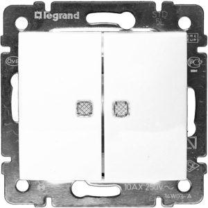 Механизм выключателя двухклавишный с индикацией белый VALENA