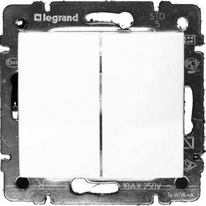 Механизм переключатель двухклавишный на два направления белый VALENA