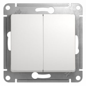 Механизм выключателя двухклавишный белый Glossa