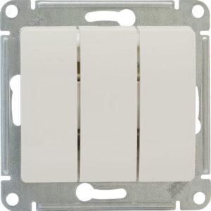 Механизм выключателя трехклавишный белый Glossa