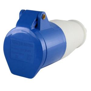 Розетка силовая 2Р+РЕ 32А 220В пластиковая IP44 TDM