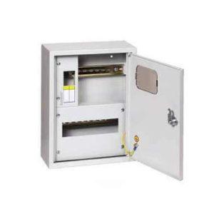 Щит металлический навесной ЩКН3-1x12-1-СЭ1на 12 модулей под однофазный счетчик с нулевой и заземляющей шинами TDM