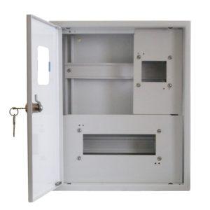 Щит металлический навесной ЩКНс3-1х12+1х4-СЭ1-УХЛ4 на 12 модулей под однофазный счетчик с нулевой и заземляющей шинами с окном УЗОЛА