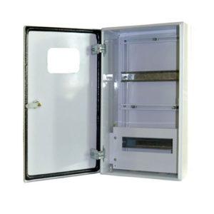 Щит металлический навесной ЩУНс-1х9-2,IP54-У1 на 9 модулей под однофазный счетчик с замком и окном влагозащищенный УЗОЛА