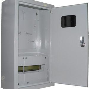 Щит металлический навесной ЩУРн-1/12 на 12 модулей под однофазный счетчик с замком и окном 395х310х165 TDM