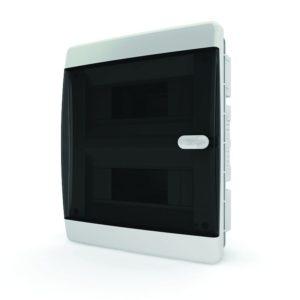 Щит пластиковый распределительный встраиваемый 18 мод IP41 черная прозрачная дверца с кнопкой Tekfor