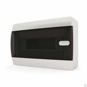 Щит пластиковый навесной 12 мод IP41 (кнопка) прозрачная черная дверца Tekfor