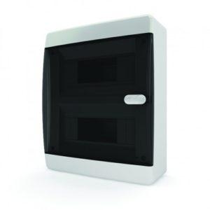 Щит пластиковый навесной 18 мод IP41 (кнопка) прозрачная черная дверца Tekfor