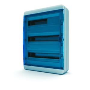 Щит пластиковый распределительный навесной 54 мод IP41 синяя прозрачная дверца Tekfor