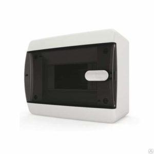 Щит пластиковый навесной 6 мод IP41 (кнопка) прозрачная черная дверца Tekfor