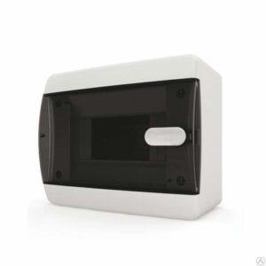 Щит пластиковый навесной 8 мод IP41 (кнопка) прозрачная черная дверца Tekfor