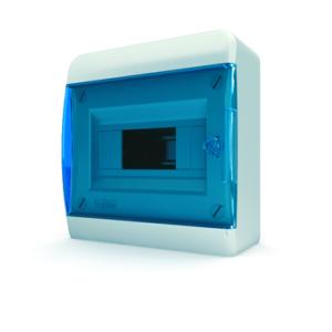 Щит пластиковый распределительный навесной 8 мод. IP41 синяя прозрачная дверца Tekfor