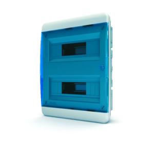Щит пластиковый распределительный встраиваемый 24 мод IP41 синяя прозрачная дверца Tekfor