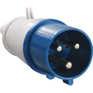 Вилка силовая переносная 023 2Р+РЕ 32А 220В пластиковая IP44 TDM