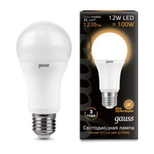 Лампа светодиодная LED Elementary Globe 12w=100w А60 E27 2700k Gauss