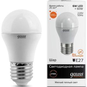 Лампа светодиодная шар LED Elementary Globe 6w=60w E27 2700k Gauss